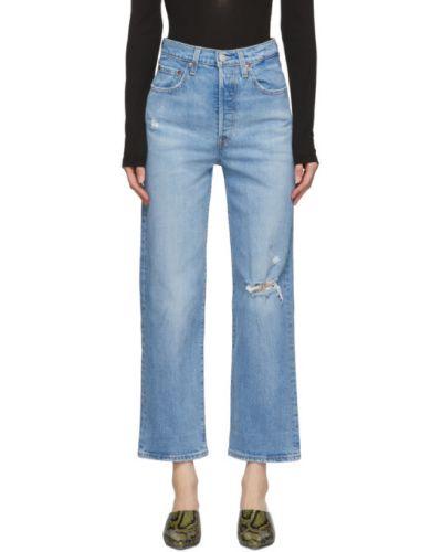 Skórzany prosto niebieski światło jeansy do kostek Levi's