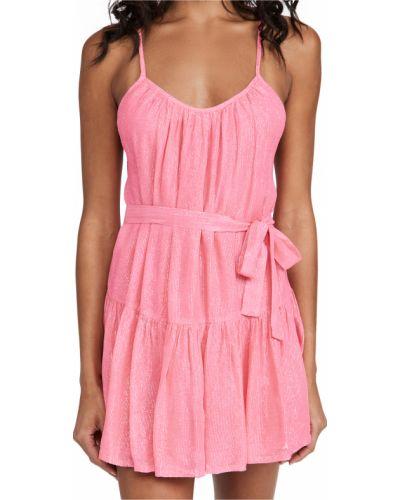 Розовое шифоновое платье в полоску Sundress