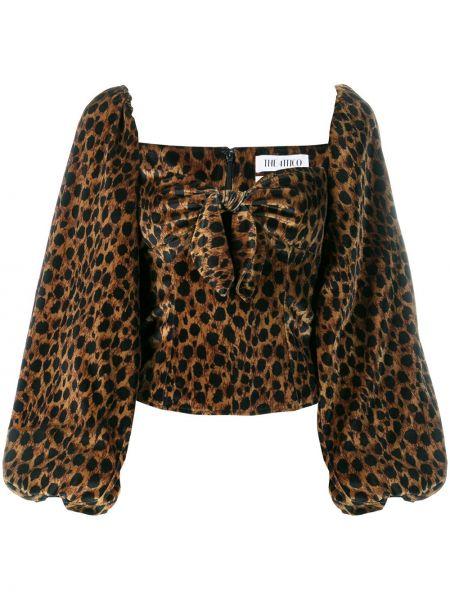 Блузка с длинным рукавом в полоску с леопардовым принтом Attico