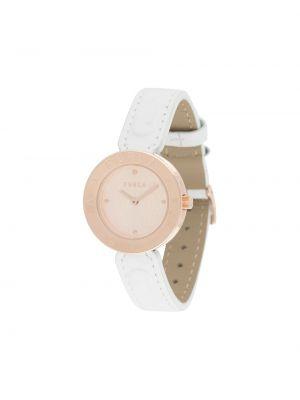 Z paskiem biały zegarek na skórzanym pasku okrągły z prawdziwej skóry Furla