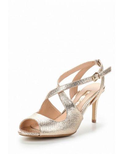 Босоножки на каблуке золотого цвета Dorothy Perkins