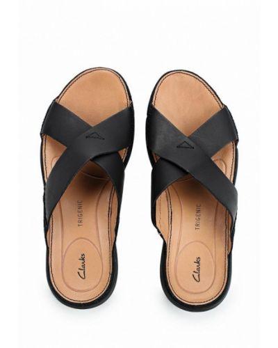 Черные кожаные сандалии Clarks