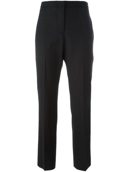 Шерстяные черные прямые брюки с воротником Piazza Sempione