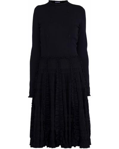 Платье миди из вискозы с воротником Alexander Mcqueen