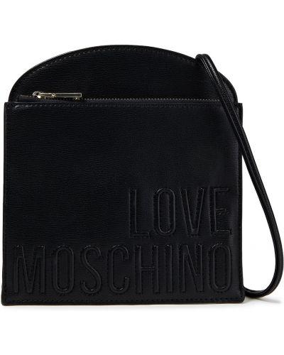 Черная кожаная косметичка с подкладкой Love Moschino
