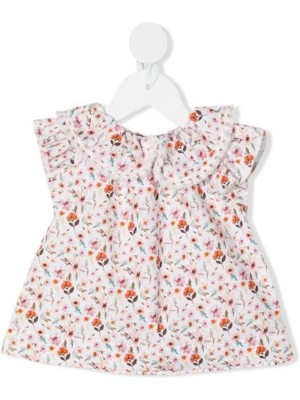 Белая блузка с короткими рукавами с воротником La Stupenderia