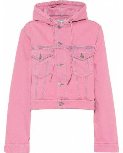 Куртка с капюшоном джинсовая розовая Ganni