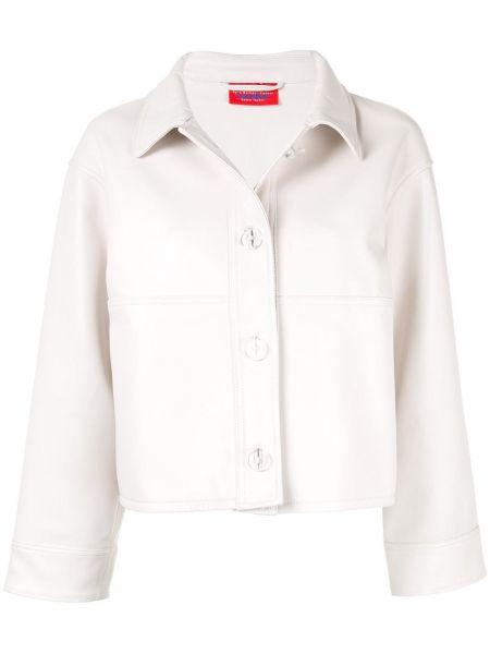 Белая кожаная куртка с воротником Solace London