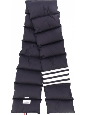 Стеганый синий шарф с гусиным пухом с перьями Thom Browne