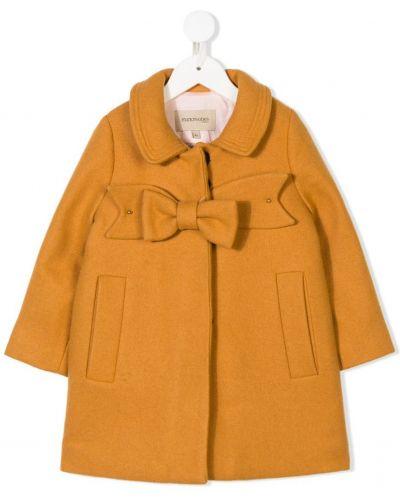 Длинное пальто с бантом желтый Hucklebones London