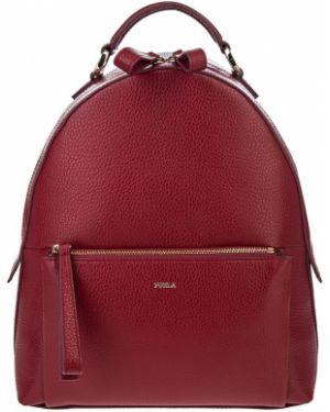 Кожаный рюкзак на молнии бордовый Furla