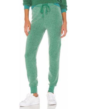 Spodnie na gumce z mankietami zielony Wildfox Couture