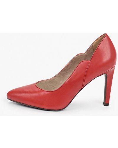 Кожаные красные туфли-лодочки Marco Tozzi