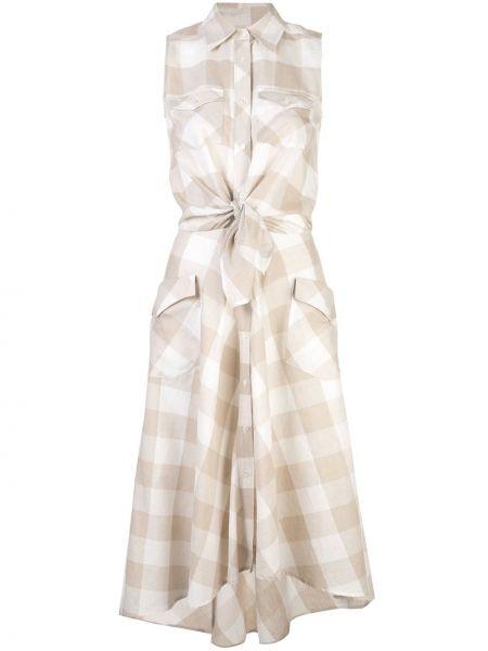 Расклешенное платье миди на пуговицах с воротником без рукавов Sara Roka