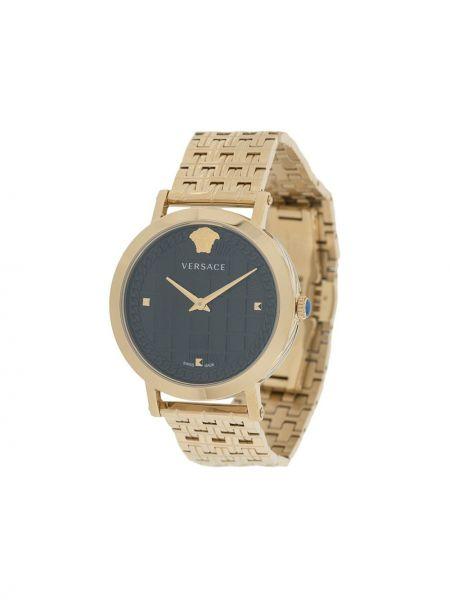 Золотистые часы водонепроницаемые золотые круглые Versace