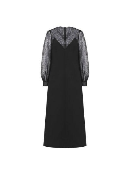 Миди итальянское шелковое платье с декоративной отделкой Valentino