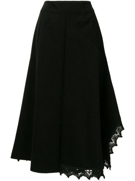 Черная асимметричная с завышенной талией юбка миди с поясом Goen.j