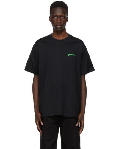 Bawełna z rękawami czarny koszula z kołnierzem Burberry