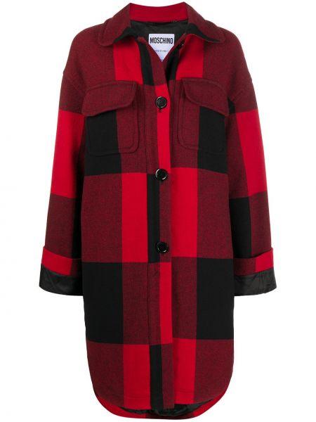 Красное шерстяное длинное пальто в клетку Moschino