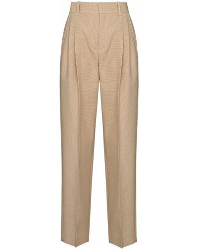 Шерстяные коричневые прямые укороченные брюки с высокой посадкой Chloé