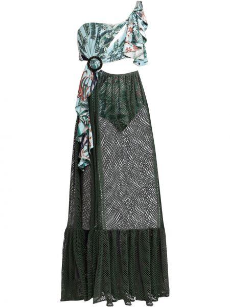 Зеленое платье прозрачное без рукавов со вставками Patbo