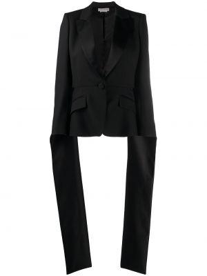 Шерстяной однобортный черный короткая куртка Alexander Mcqueen