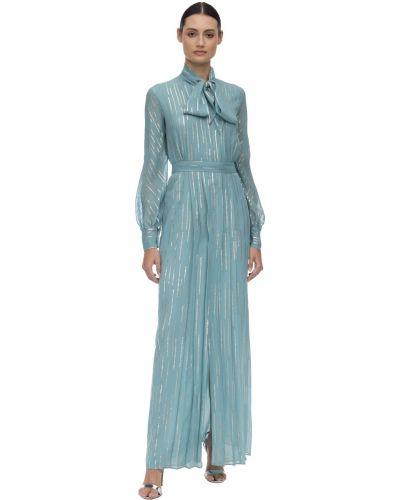 Синее платье макси с длинными рукавами с поясом Luisa Beccaria