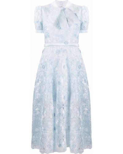 Синее кружевное ажурное платье на шнуровке Self-portrait