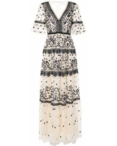 Платье мини из фатина с вышивкой с V-образным вырезом с короткими рукавами Needle & Thread