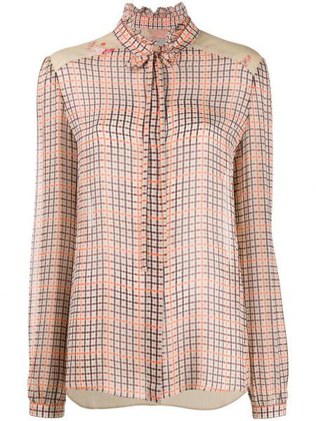 Приталенная блузка с длинным рукавом с воротником с манжетами Preen Line