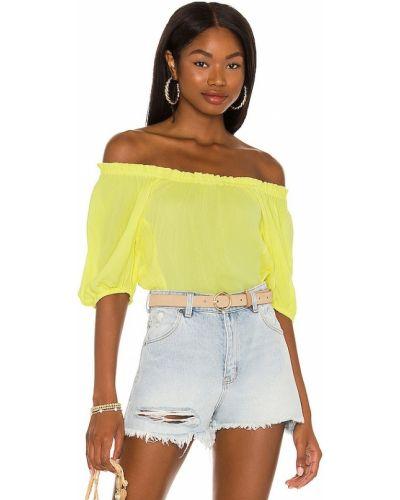 Текстильная желтая блузка с декольте 1. State