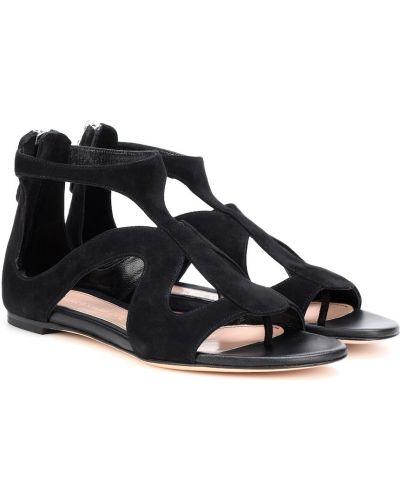 Czarny z paskiem skórzany sandały na paskach Alexander Mcqueen