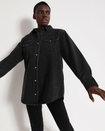 Свободная хлопковая серая джинсовая рубашка 12storeez