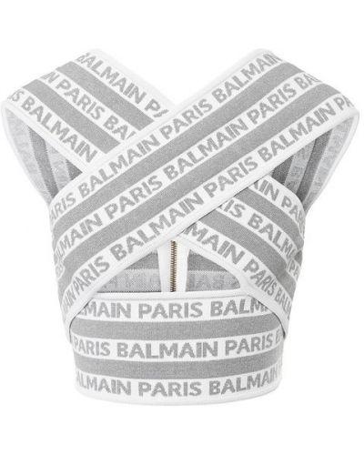 Топ с логотипом на молнии Balmain