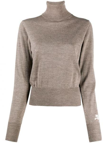 Шерстяной коричневый вязаный свитер с длинными рукавами Courrèges
