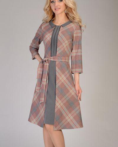 Платье с поясом со складками с отложным воротником Open Fashion Premium
