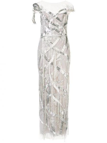 С рукавами платье мини прозрачное с вышивкой Marchesa
