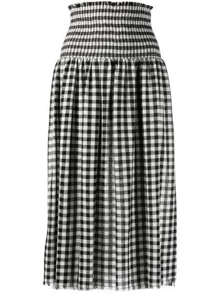 Czarny spódnica midi z falbankami z wiskozy za pełne Pinko