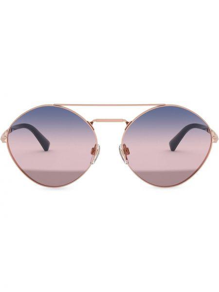 Розовые солнцезащитные очки металлические с заклепками Valentino Eyewear