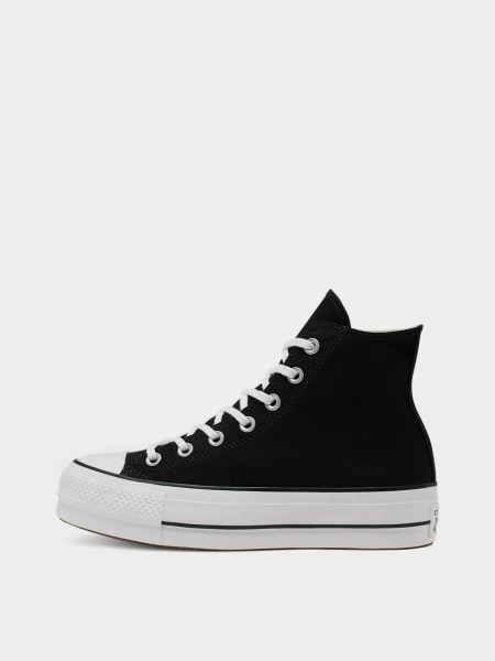 Черные высокие кеды на шнуровке на платформе Converse