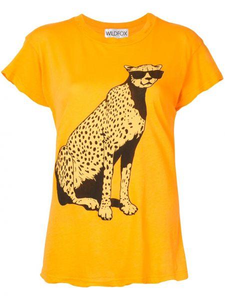 Хлопковая желтая прямая футболка с круглым вырезом Wildfox