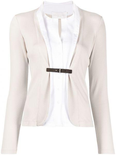 Biała koszula z długimi rękawami z wiskozy Fabiana Filippi