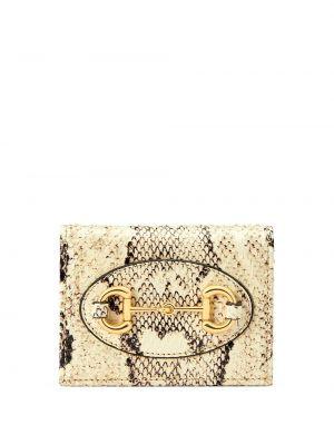 Beżowy portfel skórzany z printem Gucci