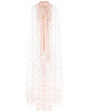 Różowa narzutka z haftem tiulowa Adam Lippes