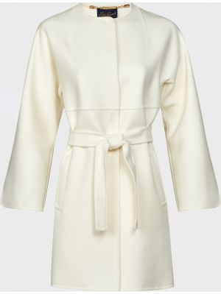 Шерстяное белое пальто с капюшоном Luisa Spagnoli