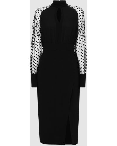Шелковое платье миди - черное Balmain