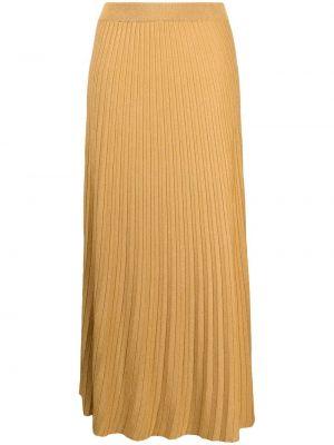 Желтая трикотажная с завышенной талией юбка миди Roberto Collina