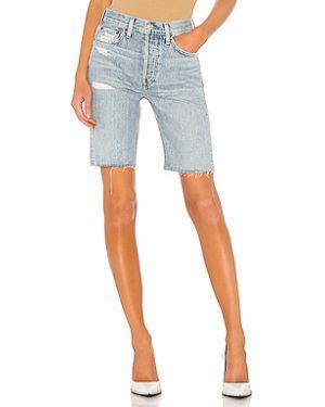 Хлопковые джинсовые шорты со стразами с карманами на пуговицах Re/done