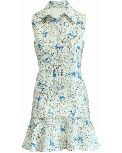 Biała sukienka zapinane na guziki Carven