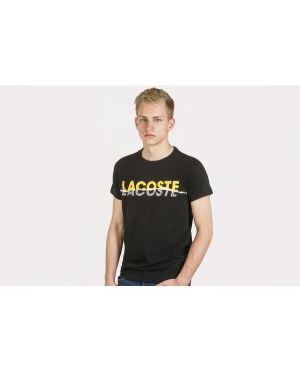 Czarny t-shirt bawełniany oversize Lacoste